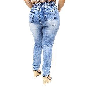 Calça Jeans Meitrix Plus Size Skinny com Elástico Thaise Azul