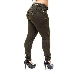 Calça Jeans Cheris Skinny Regyslania Verde Militar