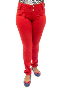 Calça Jeans Feminina Vermelha Duplo com Elastano Cós Alto