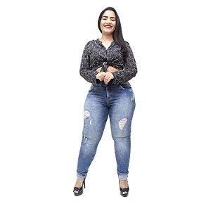 Calça Jeans Xtra Charmy Plus Size Skinny Simonea Azul