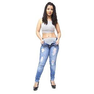 Calça Jeans Cheris Skinny com Cinta Thiele Azul