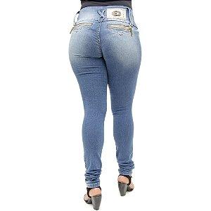 Calça Jeans Feminina Darlook Lavagem Azul Manchado