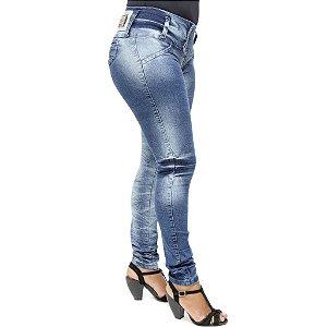 Calça Jeans Feminina Hevox Lavagem Azul Manchada com Brilho