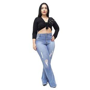 Calça Jeans Credencial Plus Size Flare Krisley Azul