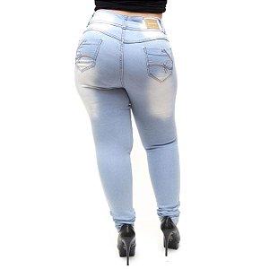 Calça Jeans Credencial Plus Size Rasgadinha Skinny Lahara Azul