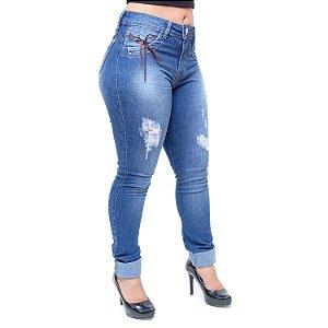Calça Jeans Feminina W. Pink Skinny Rasgadinha Renia Azul