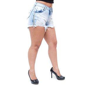 Shorts Jeans Feminino Palazzi Rasgadinho Cordelia Azul