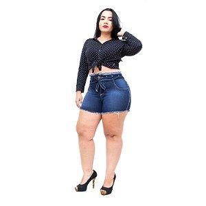 Shorts Jeans 23 Graus Plus Size Rasgadinho Rhonna Azul