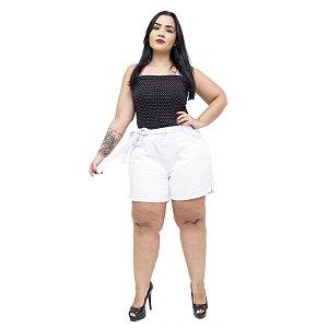 Shorts Jeans Feminino Cambos Plus Size Riana Branco