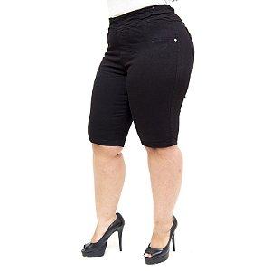 Bermuda Jeans Cambos Plus Size Ciclista Lucicleide Preta