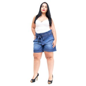 Shorts Jeans Feminino Brunfer Plus Size Clochard Isete Azul