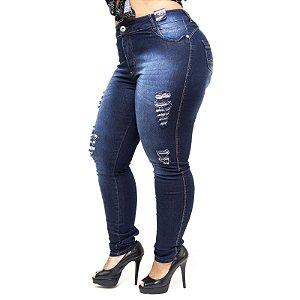 Calça Jeans Credencial Plus Size Rasgadinha Skinny Rael Azul