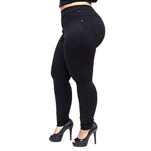Calça Jeans Feminina Cambos Plus Size Skinny Letice Preta