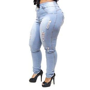 Calça Jeans Feminina Latitude Plus Size com Elástico Alina Azul