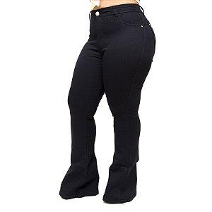 Calça Jeans Feminina Cheris Plus Size Flare Maiani Preta