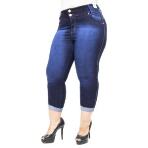 Calça Jeans Credencial Plus Size Cropped Luyssa Azul