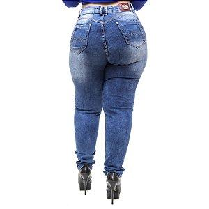 Calça Jeans Feminina Latitude Plus Size Skinny Fyama Azul