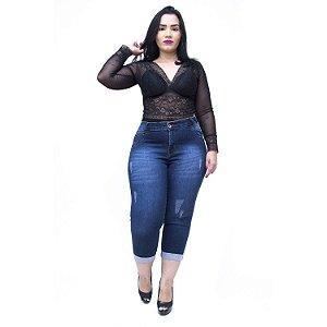 Calça Jeans Feminina Credencial Plus Size Cropped Willy Azul