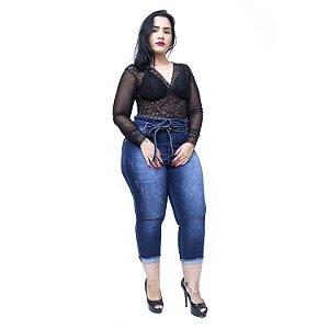 Calça Jeans Feminina Credencial Plus Size Cropped Darly Azul