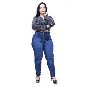 Calça Jeans Latitude Plus Size Skinny Sheiliane Azul