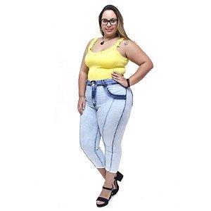 Calça Jeans Feminina Latitude Plus Size Cropped Jacy Azul