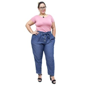 Calça Feminina Cambos Plus Size Clochard Claudelaine Azul