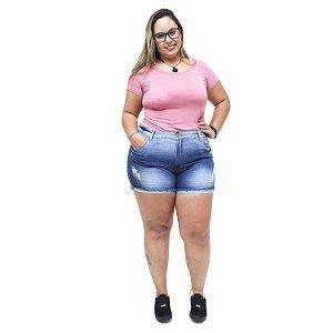 Shorts Jeans Feminino Xtra Charmy Plus Size Danimara Azul