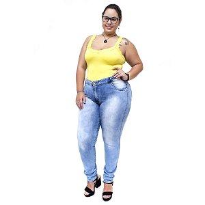 Calça Jeans Credencial Plus Size Skinny Keitty Azul Manchada
