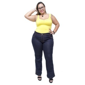 Calça Jeans Feminina Credencial Plus Size Flare Emillye Azul