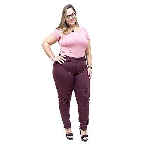 Calça Jeans Feminina Credencial Plus Size Skinny Aneli Vinho