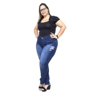 Calça Jeans Credencial Plus Size Skinny Vandaleire Azul