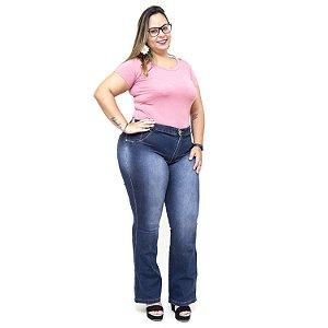 Calça Jeans Feminina Credencial Plus Size Flare Fabiany Azul