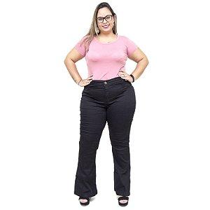Calça Jeans Feminina MC2 Plus Size Flare Jizaelia Preta