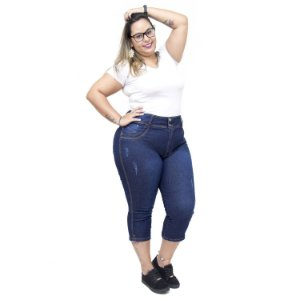 Calça Jeans Latitude Plus Size Cropped Adrilani Azul