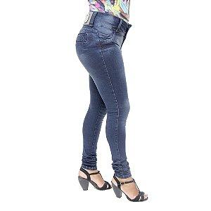 Calça Jeans Feminina Hevox Escura Modelo Legging Levanta Bumbum