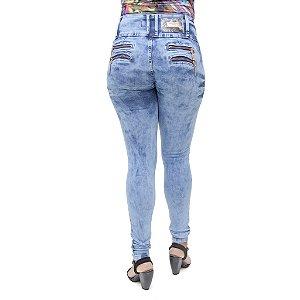 Calça Jeans Legging Feminina Cheris Marmorizada Levanta Bumbum
