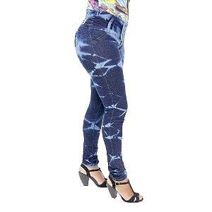 Calça Jeans Legging Feminina Thomix Manchada Levanta Bumbum