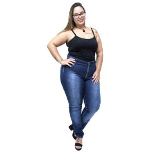 Calça Jeans Credencial Plus Size Skinny Cleosivania Azul