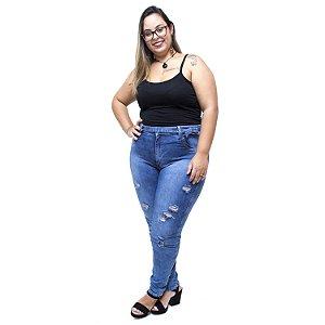 Calça Jeans Latitude Plus Size Clochard Mailde Azul