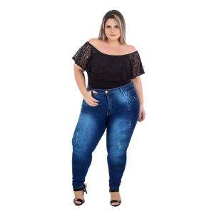 Calça Jeans Latitude Plus Size Skinny Riama Azul