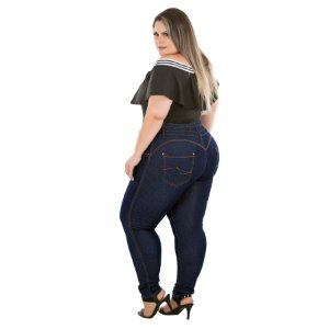 Calça Jeans Latitude Plus Size Skinny Maysse Azul