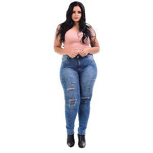 Calça Jeans Latitude Plus Size Skinny Dorilda Azul