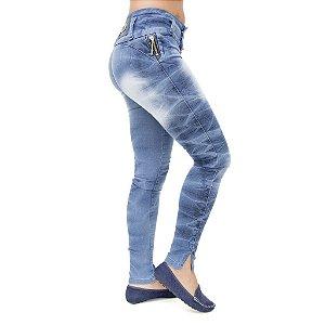 Calça Jeans Feminina Legging Helix Manchada Levanta Bumbum