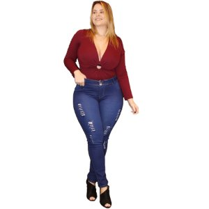 Calça Jeans Credencial Plus Size Skinny Francimara Azul