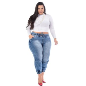 Calça Jeans Xtra Charmy Plus Size Jogger Sumiko Azul