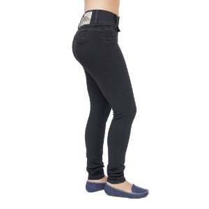 Calça Jeans Feminina Legging Helix Preta Levanta Bumbum