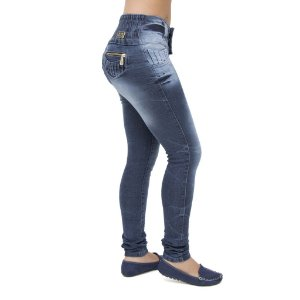 Calça Jeans Feminina Legging Hevox Escura Levanta Bumbum com Elástico