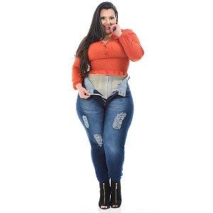 Calça Jeans Xtra Charmy Plus Size Skinny Euzenir Azul