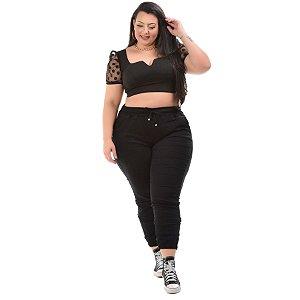 Calça Jeans Xtra Charmy Plus Size Jogger Valmy Preta