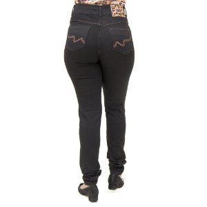 Calça Jeans Feminina Legging Helix Preta Hot Pants Cintura Alta